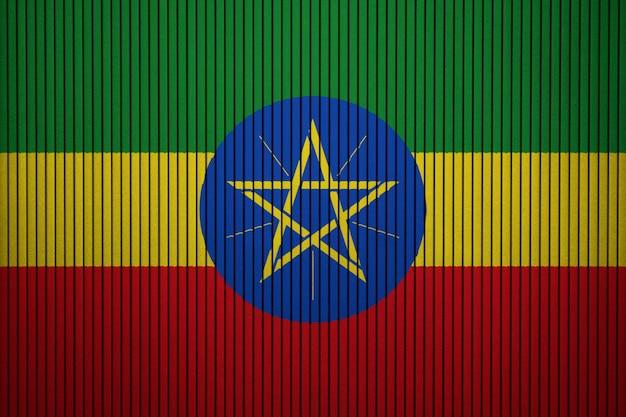 コンクリートの壁にエチオピアの国旗を描いた