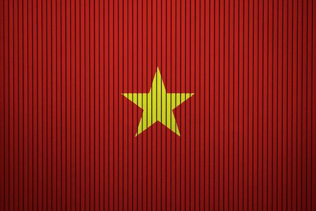 コンクリートの壁にベトナムの国旗を塗った