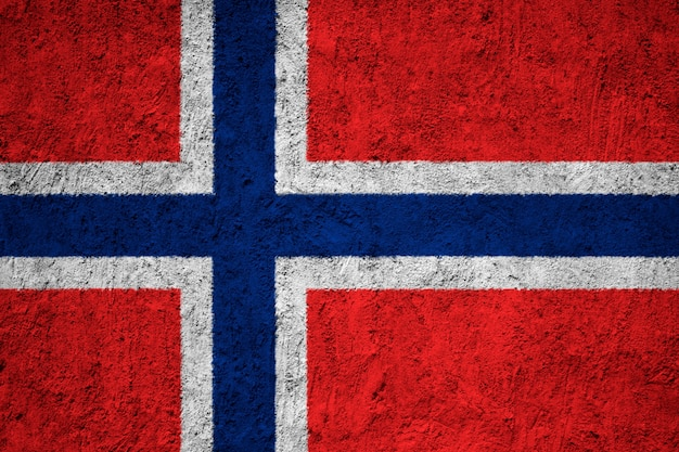 コンクリートの壁にノルウェーの国旗を塗った