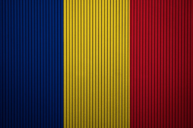 コンクリートの壁にルーマニアの国旗を塗った