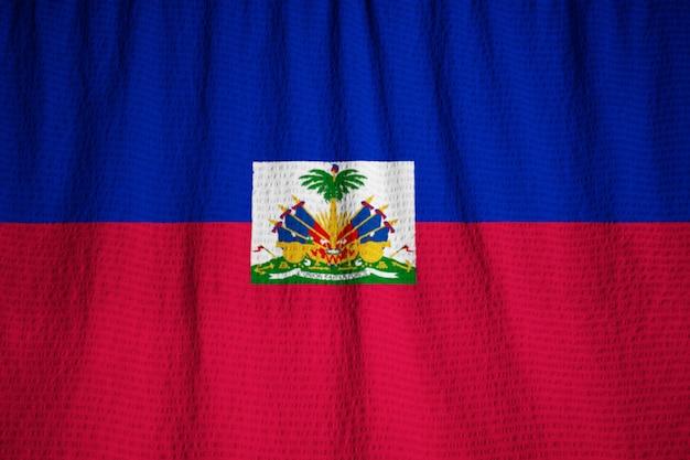 Макрофотография фальшивый флаг гаити, флаг гаити, дующий в ветру