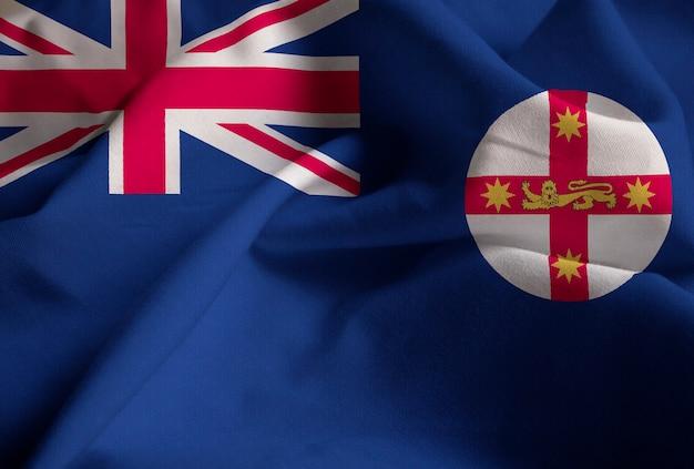 新鮮なニューサウスウェールズ州の旗、ニューサウスウェールズ州の旗、風に吹く