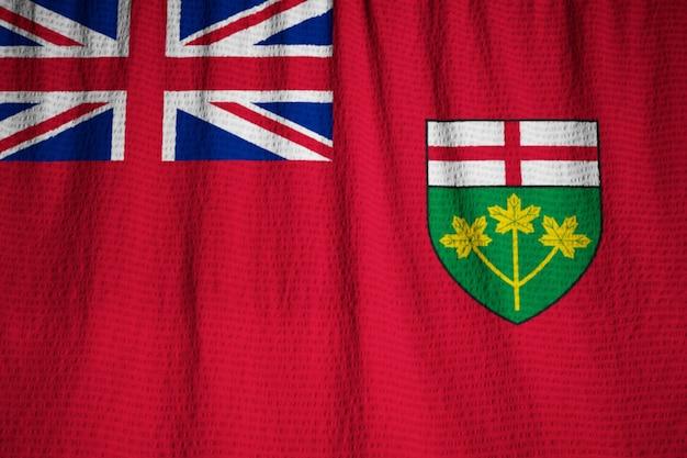 オンタリオ旗、風に吹くオンタリオ旗
