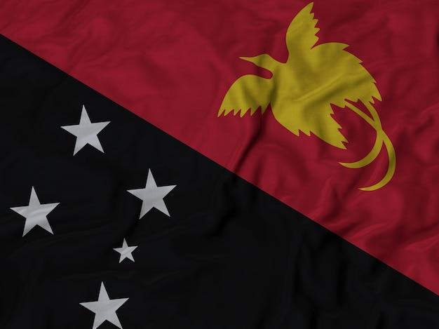 フリルドパプアニューギニアの旗のクローズアップ