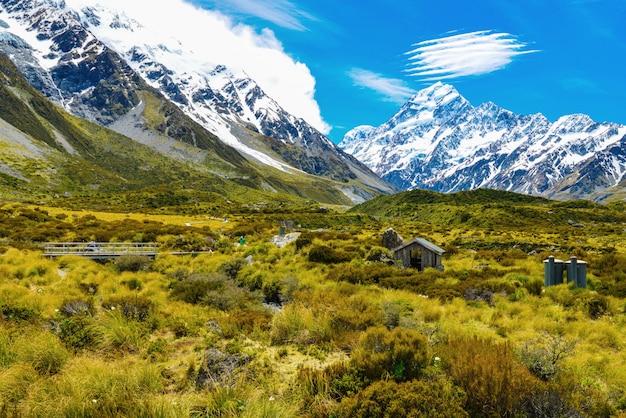 ニュージーランドのアオラキマウントクック国立公園の眺め