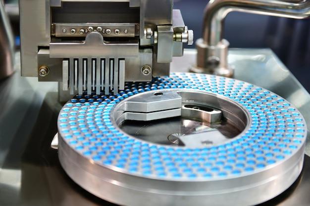 青いカプセル薬ピル生産ライン