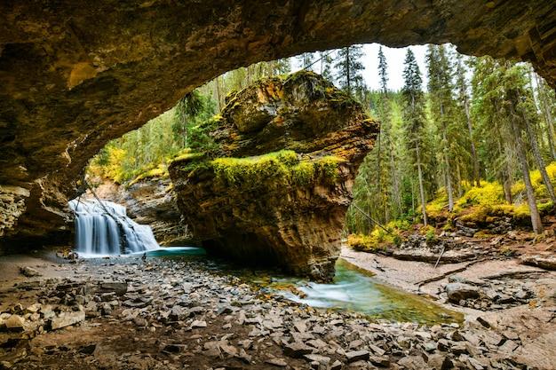 ジョンストンキャニオン滝、バンフ国立公園、アルバータ州、カナダ