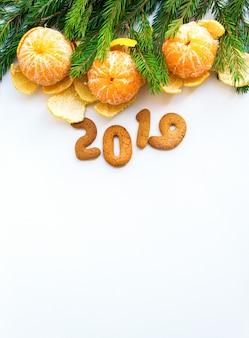 クリスマス、新年、組成、タンジェリン、モミ、木