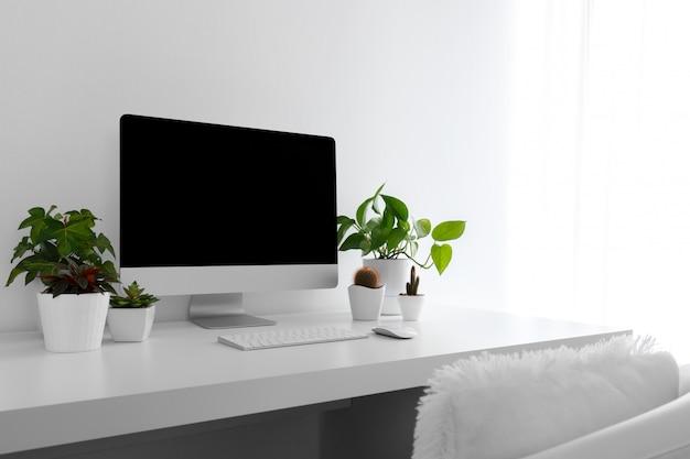 白い現代デスクトップ