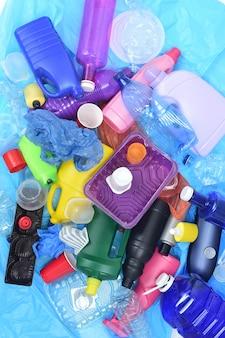 リサイクルプラスチックのクローズアップ