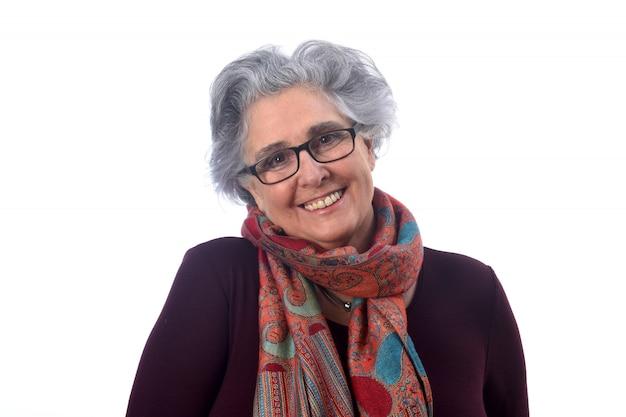 白い背景の上の年配の女性の肖像画