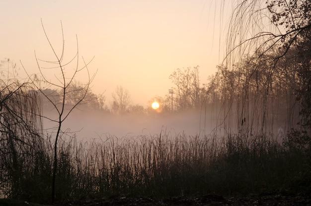 Восход солнца на озере баньолес, провинция жирона, испания