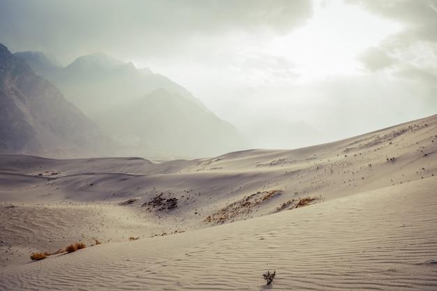 雪に対して寒い砂漠の風景は、スカルドゥの山脈と曇り空で覆われていました。