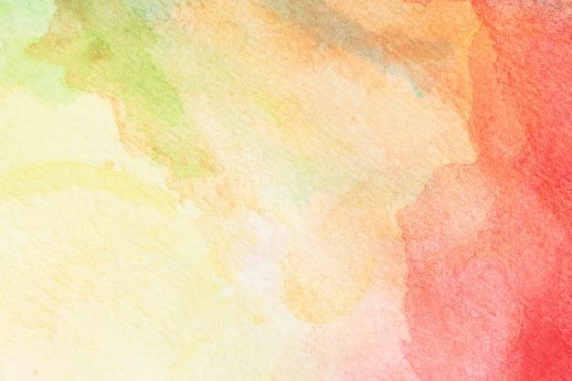 抽象的な、緑、黄色、オレンジ、赤、バラ、水彩、背景。アートハンドペイント