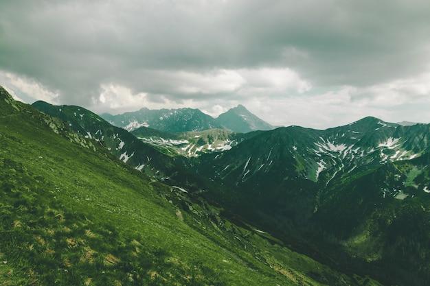 Польские татры, зеленые холмы, горы летом