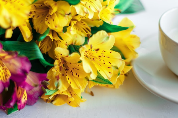 白い背景の上の花の花束。
