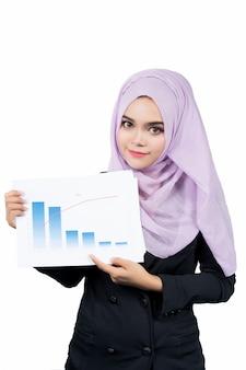 分離されたレポートを保持している美しいモダンな若いアジアのイスラム教徒のビジネス女性。