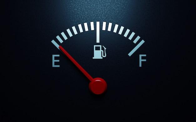 Указатель уровня топлива с красной стрелкой указывает на пустоту.