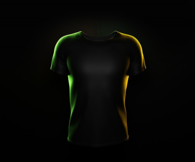 Черная футболка на черном фоне