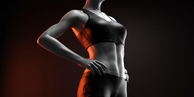 Фитнес женщина на черном фоне