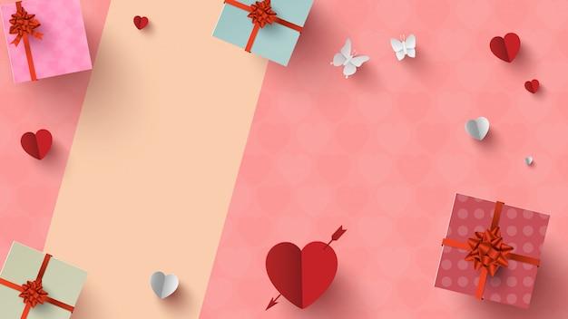 バレンタインの贈り物や装飾の平面図
