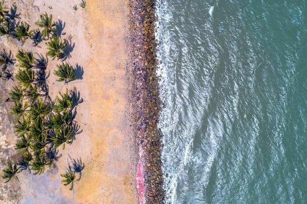 緑の椰子の木と石の美しい白い砂浜の空中ドローンショット