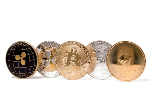 光沢のある暗号通貨コイン