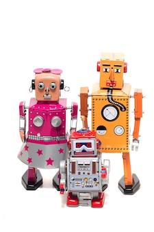 ブリキのおもちゃロボットファミリー