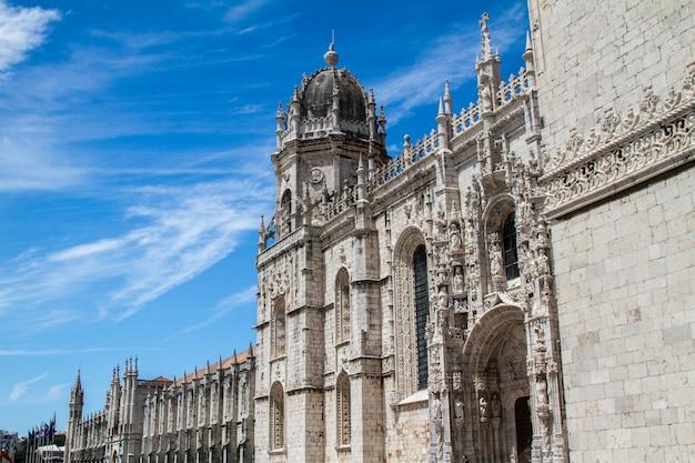 ポルトガル、リスボンにあるジェロニモス修道院の美しいランドマークの眺め。