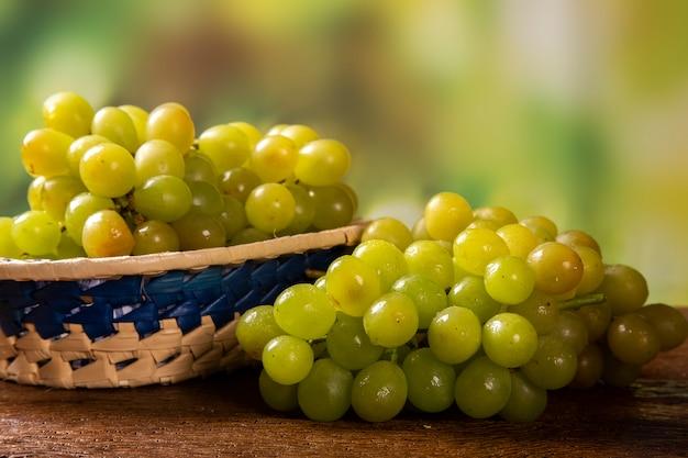 Гроздь зеленого винограда, плоды осени, символ изобилия на деревенском фоне дерева.