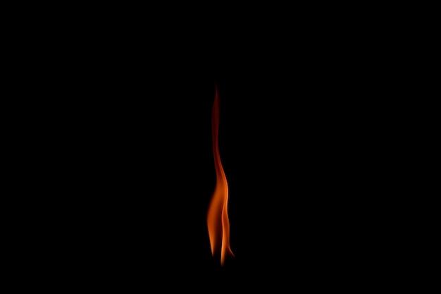 黒に分離された火の炎