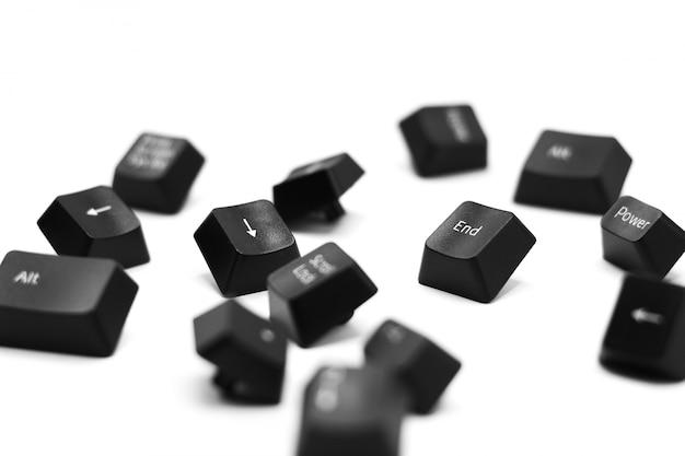 白い背景で隔離のキーボードの終了ボタン