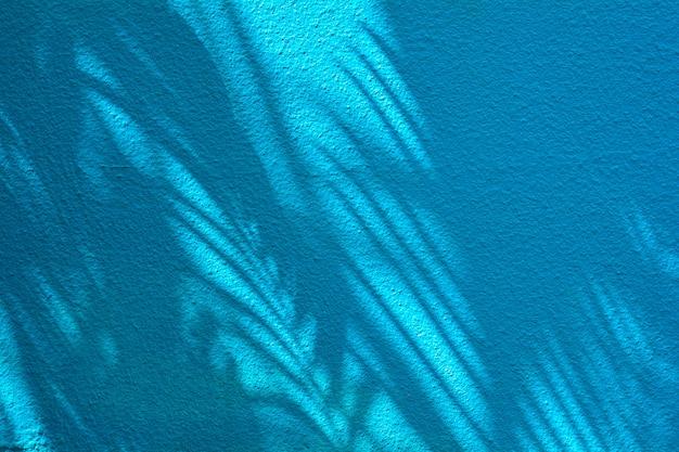 青いセメントの壁にヤシのココナッツの葉の影