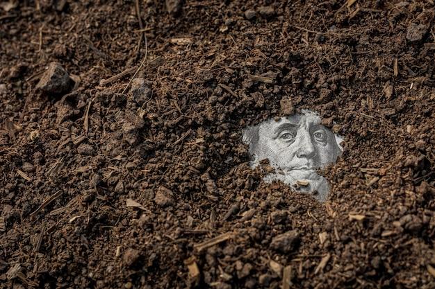 銀行券のベンジャミン・フランクリンは土の下を見る。