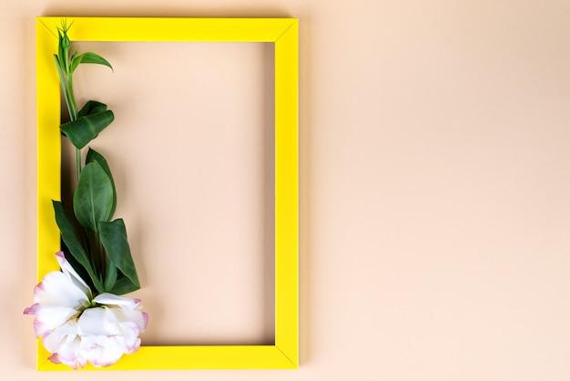 コピースペースでベージュの紙の背景に空の黄色のフレームと花トルコギキョウ