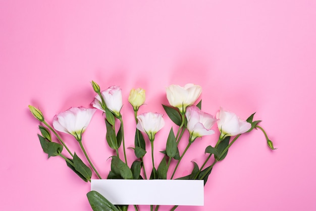ピンクの背景にトルコギキョウの花で作られた境界線フレーム、フラットレイアウト。花の装飾コーナー。