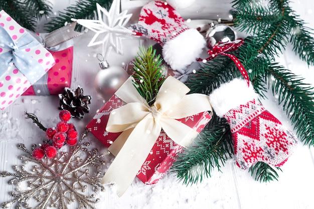 クリスマスモミの木、インテリア、ギフトボックス、ミトン