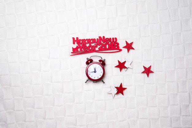 幸せな新年の言葉で時計