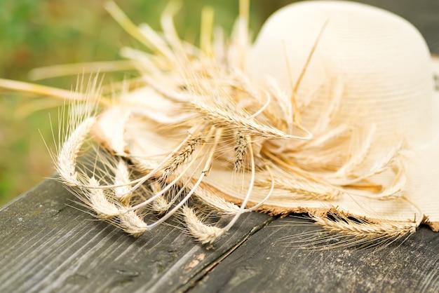 小麦の牧草地で帽子のショットをトリミング