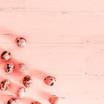 木製の最小限のサンゴの表面にウズラの卵
