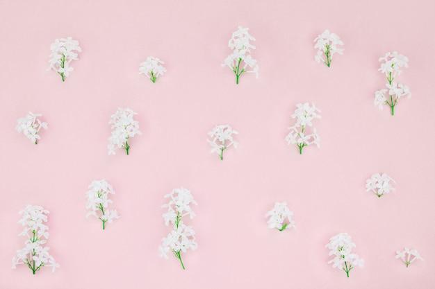 Розовый фон с белыми сиреневыми цветами