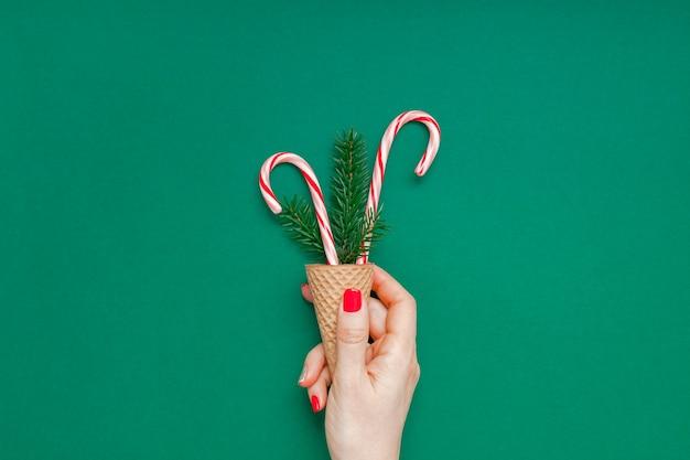 クリスマスカード、キャンディーキャンデー、ワッフルコーン