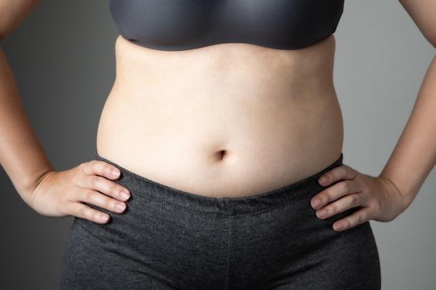 不健康な太った女性セルライト腹