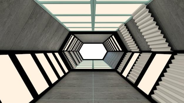六角形の未来的なトンネルとゲート