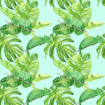 熱帯の葉とカメレオンの水彩イラストのシームレスパターン
