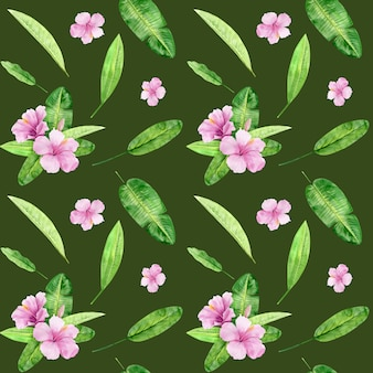 熱帯の葉と花のハイビスカスの水彩イラストシームレスパターン