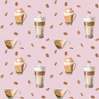 コーヒーカップのイラストを水彩のシームレスパターン