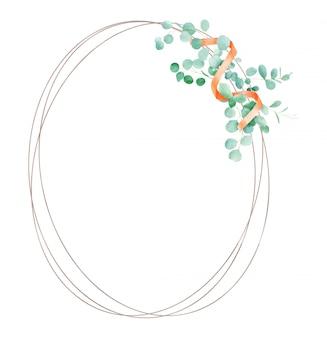 ユーカリと水彩の緑花のフレーム。ユーカリの枝と手描きのパターン。結婚式のデザインに最適