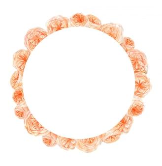 桃とオレンジの水彩バラの花フレーム