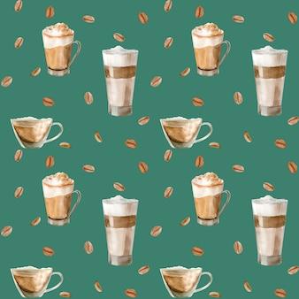 コーヒーカップ、コーヒー豆、コーヒーグラインダー、カプチーノ、ラテのイラストを水彩のシームレスパターン